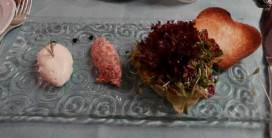 To start: Salmon tartare with horseradish, toasted brioche and salad,