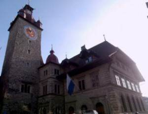 Lucerne Town Hall with clock tower