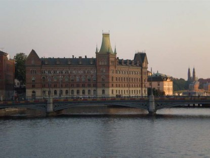 View of Norstedts Publishing House from the Gamla Stan bridge at sunset