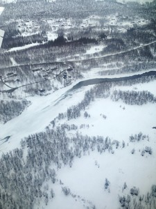 Hemavan with frozen river - view from the plane