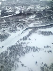 Hemavan with frozen river - view from the plane